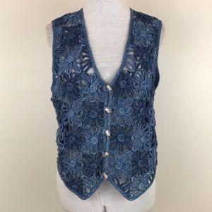 Vintage New Direction Denim Floral Lace Vest